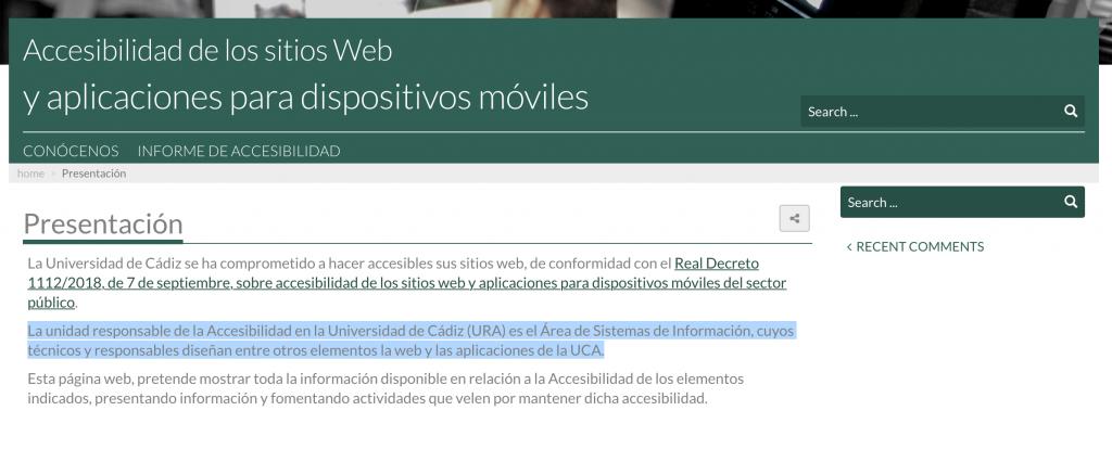 Portada de la web accesibilidad