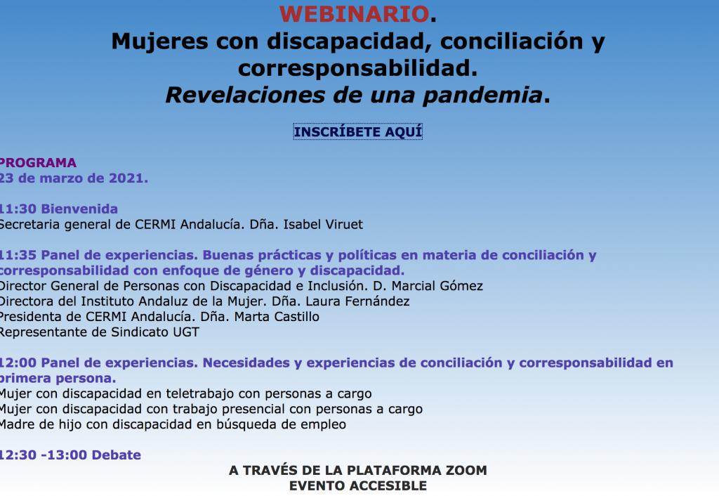 webinario. Mujeres con disCapacidad, conciliación y corresponsabilidad. Revelaciones de una pandemia.